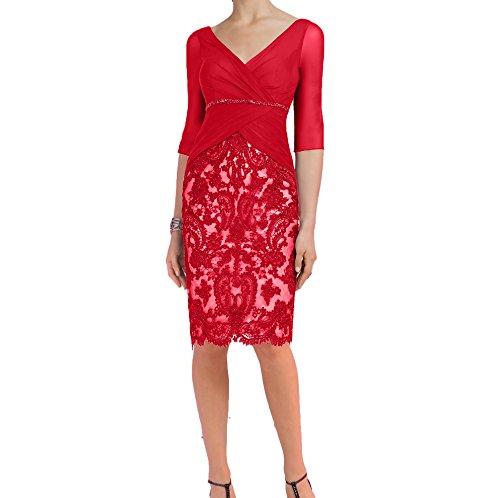 Promkleider Langarm Abendkleider mit Spitze Rot Dunkel Blau Etuikleider Brautmutterkleider Damen Charmant xfSwaRqB7n