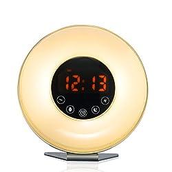 Bioxo Sunrise Simulation Alarm Clock, 5 Colors Atmosphere Lamp Wake-up Light, 3-Brightness Bedside Light, Touch Control Morning Alarm Light with Nature Sounds & FM Radio White