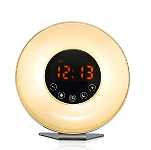 Bioxo Sunrise Simulation Alarm Clock, 5 Colors Atmosphere Lamp Wake-up Light, 3-Brightness Bedside Light, Touch Control Morning Alarm Light with Nature Sounds & FM Radio White