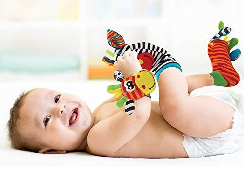 Baby Rattle Neonato Sonagli Calzini da Polso a Sonaglio per Bambini, Simpatici Animaletti Developmental Soft Toys… Abbigliamento Baby Rattle 4