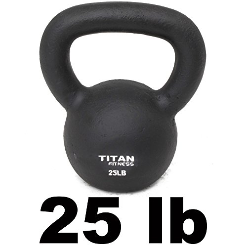Titan Fitness Cast Iron Kettlebell Weight 25 Lbs Natural Solid Workout Swing