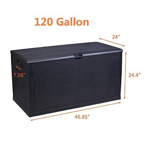 Deck Boxes Plastic Deck Box Wicker 120 Gallon, Black – LEISURELIFE Waterproof Storage Container Outdoor Patio Garden Furniture outdoor deck boxes