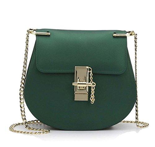 Nuevo Matte Pequeño Bolsa De Cuadrado Pequeña Bolsa De Embalaje Jelly Bag Bolsa De Hombro Bolsos Green