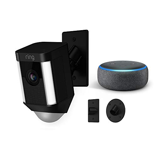 Ring Spotlight Cam Mount (Black) with Echo Dot (Charcoal)