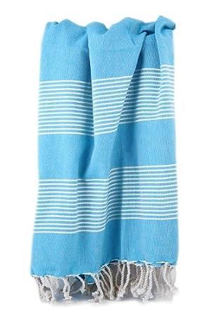 Turkish Towel Store Algodón Toalla Turca Pestemal Cian con Crudo Rayas. Toalla Pestemal.: Amazon.es: Hogar