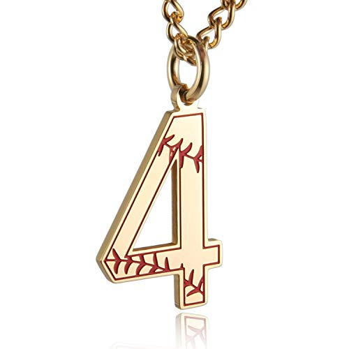 HZMAN Baseball Initial Pendant Necklace Inspiration Baseball Jersey Number 0-9 Charms Stainless Steel Necklace (4 - Gold)
