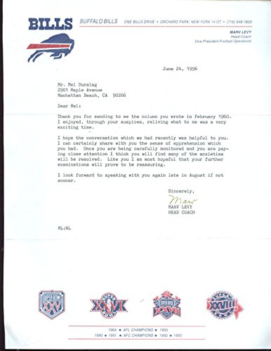 1996 Buffalo Bills Marv Levy Signed Letter With Envelope Hologram
