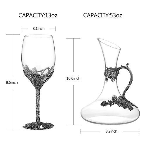 Wine Glasses Set of 5, Crystal Wine Glasses Set 4x 12oz Wine Glasses 1x 52oz Decanter with Enamels by NOSHMAN (Image #4)