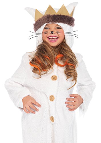 Leg Avenue Kids Max Hooded Pajamas with Tail & Attached Crown Head Piece, Cream, X-Small -
