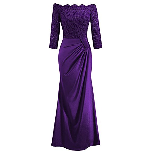 IBTOM CASTLE Women's Retro Vintage Off Shouler Floral Lace Ruched Bridesmaid Formal 2/3 Sleeve Slim Wedding Maxi Long Dress Cocktail Gowns Purple M