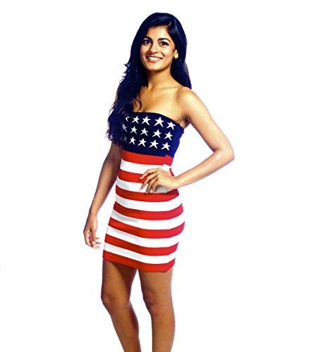 Cenit Women's Usa American Flag Sleeveless Dress Medium Red White Blue
