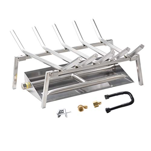 Skyflame 18-inch Fireplace Log Grate with Dual Burner Pan and Connection Kit for Natural Gas, 304 Stainless Steel (Log Burner Outdoor)