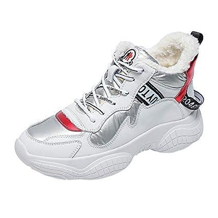 YUNDONGXIENV Calzado Deportivo de Mujer Zapatillas Blancas Mujer 2018 Invierno Zapatillas de Deporte Casuales Zapatos de