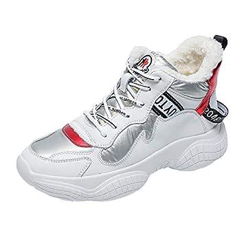 YUNDONGXIENV Calzado Deportivo de Mujer Zapatillas Blancas Mujer 2018 Invierno Zapatillas de Deporte Casuales Zapatos de algodón con Suela Gruesa Zapatillas ...