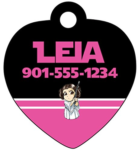 Princess Pet Tag (Disney Star Wars Pet Id Tag for Dogs & Cats Personalized w/ Name & Number (Princess Leia))