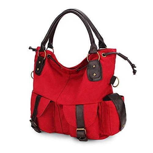 IR de Bolsillos para Casual múltiples Bolso Rojo Bolso de OURBAG de Bolso Mujer Satchel Lona Compras de Negro Crossbody con Moda adqnxFwZ