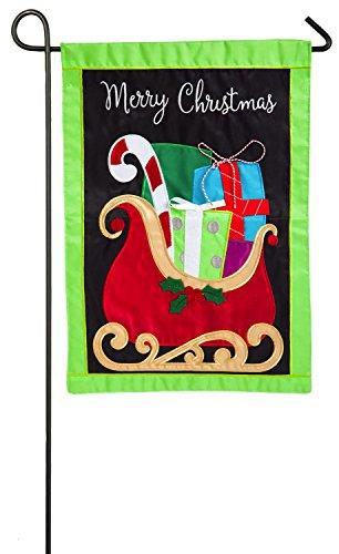 Christmas Applique Flag - Evergreen Gifts on Christmas Sleigh Applique Garden Flag, 12.5 x 18 inches