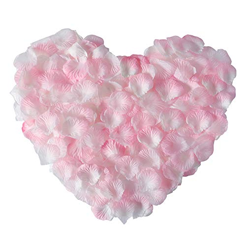 APICCRED 2000 PCS Artificial Silk Flower Rose Petals for Bridal Wedding Party Decoration (White and Pink)