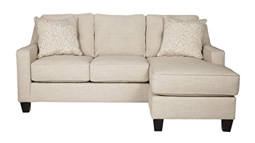 Benchcraft - Aldie Nuvella Contemporary Sofa Chaise Sleeper - Queen Size Mattress Included - Sand (Mission Sleeper Sofa)