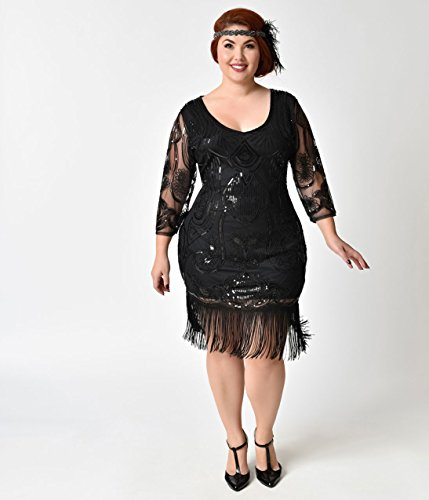 Unique-Vintage-Plus-Size-Black-Beaded-Sequin-Margaux-Sleeved-Fringe-Flapper-Dress