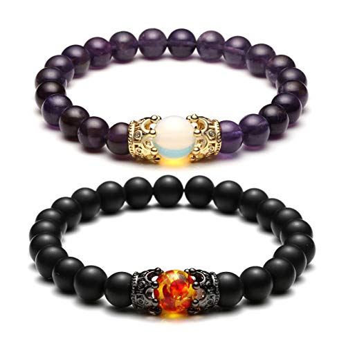 Top Plaza King&Queen Crown Distance Couple Bracelets His and Her Relationship Friendship Bracelet Mens Womens Gemstone Beads Stretch Bracelets - Black Matte Agate + Amethyst (Kings Plaza)