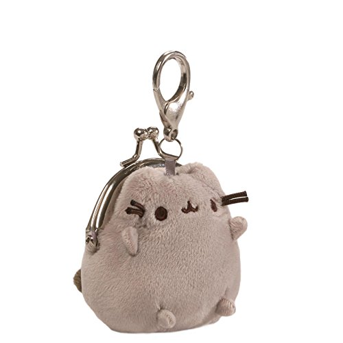 GUND Pusheen Cat Plush Stuffed Animal Mini Coin Purse, Gray, 3