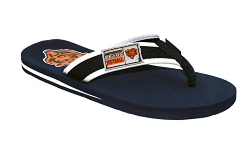 Forever Collectibles Officially Licensed NFL Contour Flip Flops - Happy Feet and Comfy Feet Chicago Bears