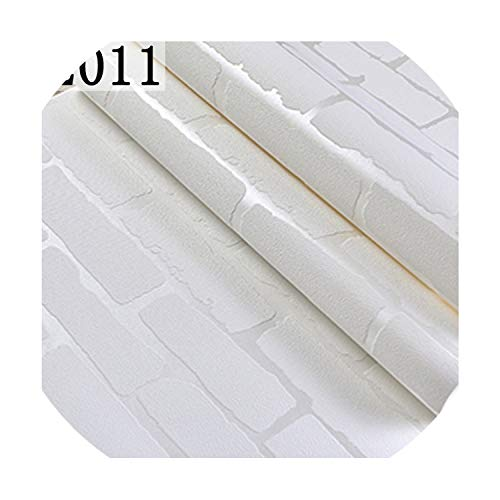 PVC/Vinyl Thickening White Brick Wallpaper for Walls Rustic TV Background Brick Wall Paper Rolls, Papel de Parede R211,2011,China,5.3㎡ ()