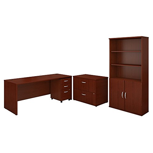 - Bush Business Furniture Series C 72W Office Desk with Bookcase and File Cabinets - Mahogany/Mahogany 71W X 29D X 73H Ergonomichome Bush Business Furniture Scroll Down for Product Description