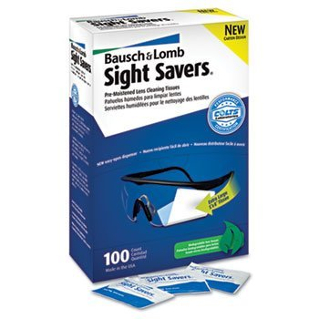 (3 Pack Sight Savers Premoistened Lens Cleaning Tissues, 100 Tissues/Box by BAUSCH & LOMB, INC. (Catalog Category: Office Maintenance, Janitorial & Lunchroom / Well Being, Safety & Security / Eye Care