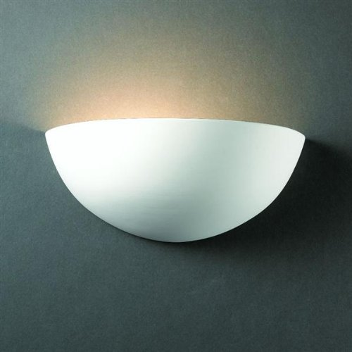 - Justice Design Group Lighting CER-1300-BIS Justice Design Group - Ambiance Collection - Small Quarter Sphere Wall Sconce - Bisque Finish Unfinished Ceramic