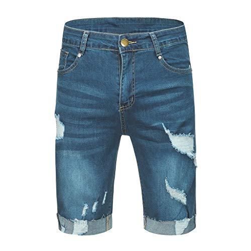 khdug Hawaiian Summer Causal Fray Destroyed Crimping Slim Fit Sport Shredded Denim Shorts Jeans Pants