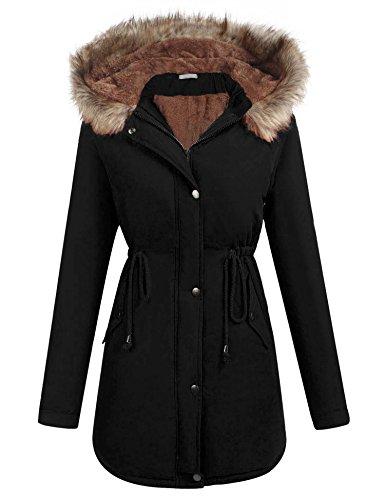 (ELESOL Women's Faux Fur Winter Warm Thicken Plus Jacket Hooded Parka Coat Outwear)