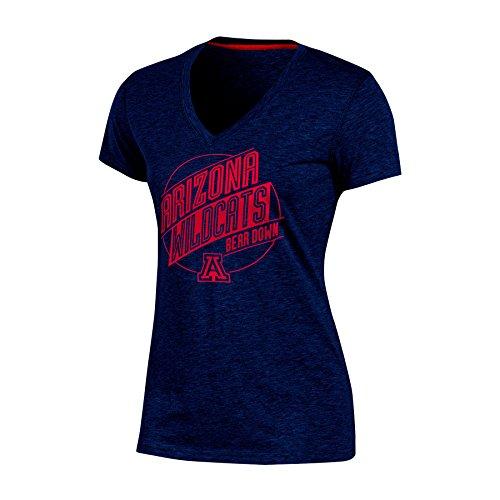 Ncaa Arizona Wildcats Womens Poly  V Neck T Shirt  Medium  Navy Heather