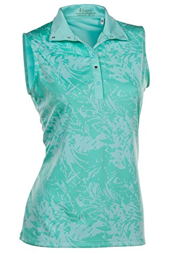 Nancy Lopez Lopez Palmy Sleeveless Polo Aquamarine 2X by Nancy Lopez