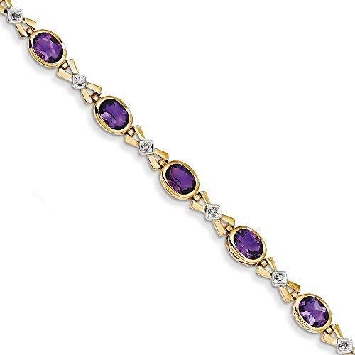 """14 carats avec améthyste et diamants bruts 7 """"- 7 mm-Fermoir-JewelryWeb"""