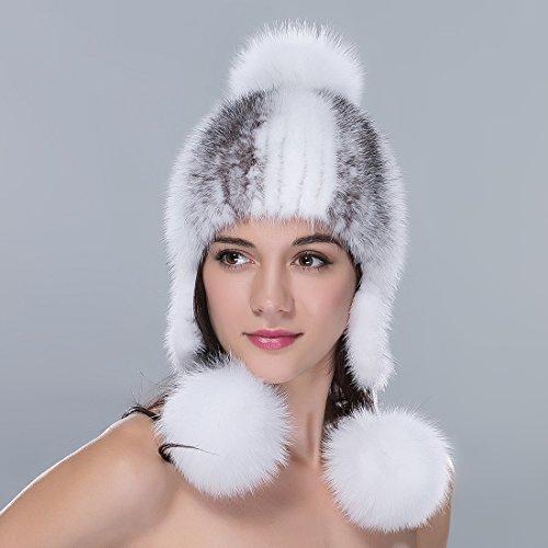 724c8cf467188 URSFUR Women s Knit Mink Fur Hat with Cute Pom Poms Mutiple Color ...