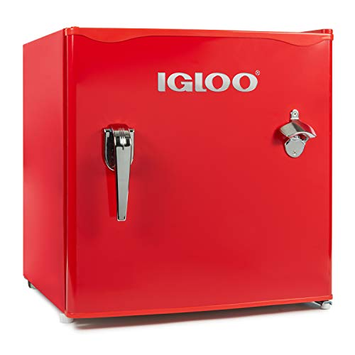 Igloo IRF16RSRD Classic Compact Single Door Refrigerator Freezer w/Chrome Handle & Bottle Opener, 1.6 Cu.Ft, Red ()