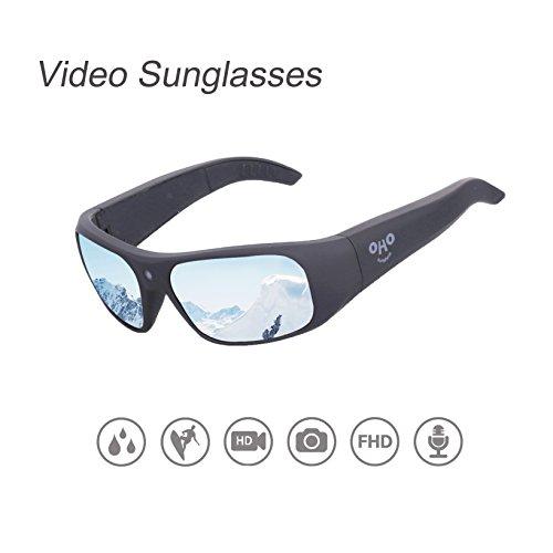 OHO sunshine Waterproof Video Sunglasses,32G Ultra 1080P HD Video Recording Camera and Polarized UV400 Protection Safety Lenses,Unisex Design