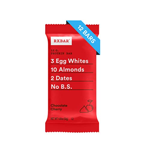 RXBAR Real Food Protein Bar, Chocolate Cherry, Gluten Free, 1.83oz Bars, 12 Count