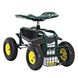 ArmPro Garden Cart Rolling Work Seat with Tool Tray and Storage Basket, 360 Degree Swivel Seat, 300 Lbs Weight Capacity
