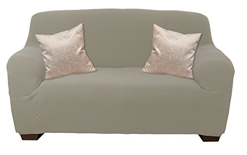 Elaine Karen DELUXE Sofa Cover Spandex Stretch Slipcover - Loveseat Tan