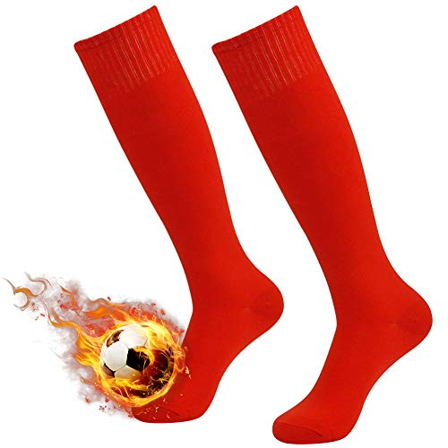 Red Long Tube Soccer Socks,Three street Unisex Youth Breathable Sport Cushion Over-Knee Length Comfort Compression Football Volleyball Socks Red 2-Pairs