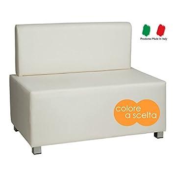 Divano divanetto due posti moderno in ecopelle bianco bianca modello ...