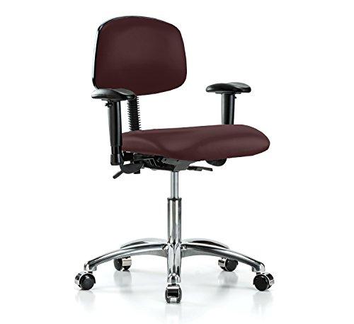 Perch Chrome Rolling Multi Task Swivel Chair for Hardwood or Tile Floors, Desk Height, Burgundy Fabric (Burgundy Task Multi Chair)