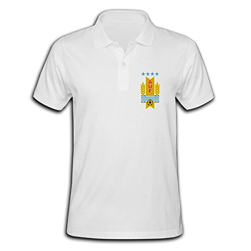 Men's Uruguay Football Team Logo Solid Short Sleeve Pique Polo Shirt White US Size XL