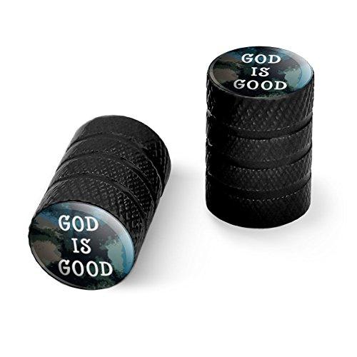 神は良いキリスト教の霊感的な宗教ですオートバイ自転車バイクタイヤリムホイールアルミバルブステムキャップ - ブラック