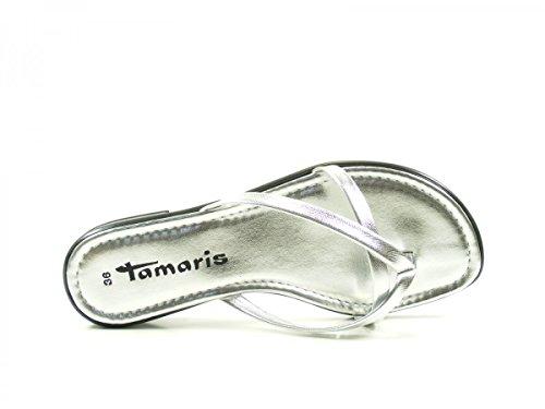 Tamaris 27107, Sandalias Planas Mujer Silber