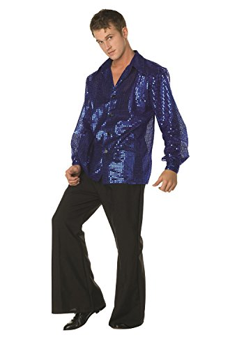 Disco Inferno Costumes (70s Disco Inferno - 70s Sequin Blue ,X-Large( 44 -48 ))