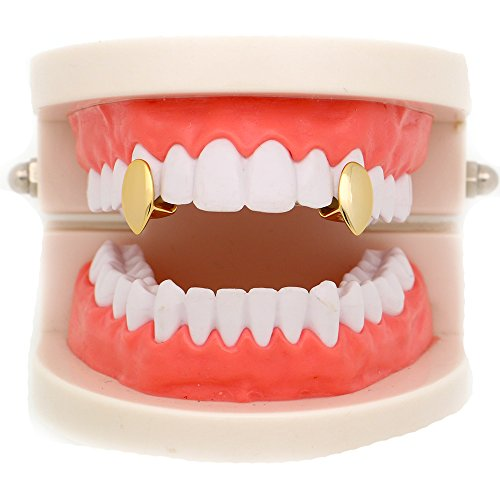 Lureen 2 PC 14k Gold Plated Vampire Dracula Single Metal Fangs Hip Hop Teeth Grillz Set (Gold)